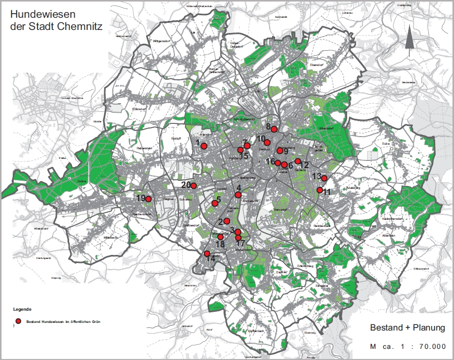 Karte Chemnitz.Hundewiesen Stadt Chemnitz