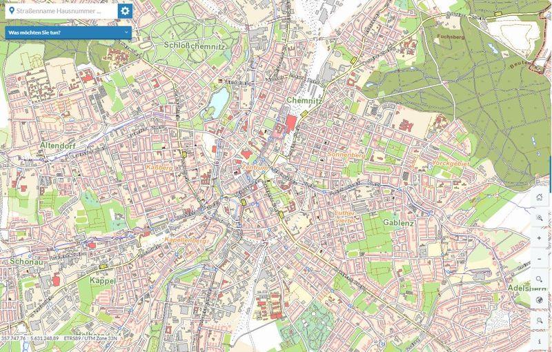 Karte Chemnitz.Chemnitzer Stadtplan Stadt Chemnitz